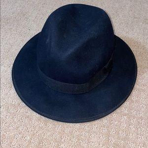 Black suede round hat! Never worn!!!